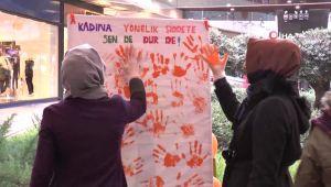 Kadına Şiddete Boyalı Protesto