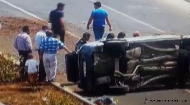 Trafikte makas attı kaza yaptı polis sedyede ceza kesti