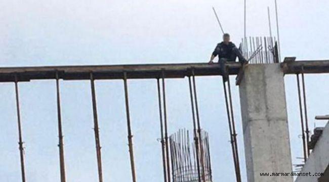 Cami inşaatında intihar girişimi!