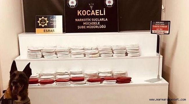 Kocaeli'de tırın zulasından 62 kg esrar çıktı