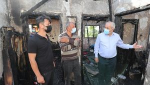 Başkan Büyükgöz'den evi yanan aileye ziyaret